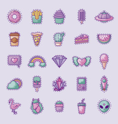 Set sweet donut and icons vector