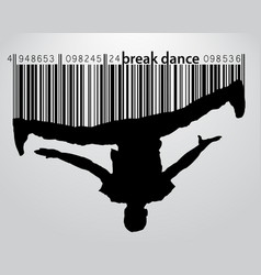 Silhouette of a break dancer and barcode vector