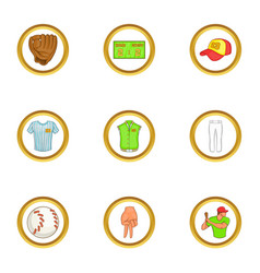 Soccer equipment icons set cartoon style vector