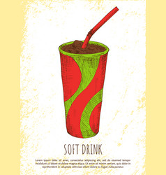 Soft drink in colorful cardboard cup card vector