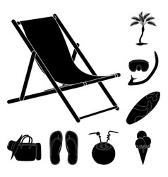 summer rest black icons in set collection for vector image