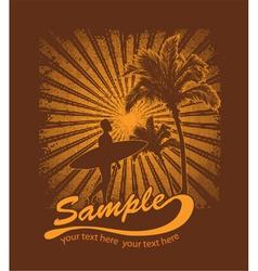 Summer t-shirt design with surfer vector