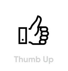 Thumb up down icon editable line vector