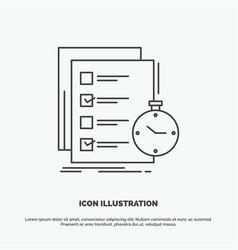 Todo task list check time icon line gray symbol vector