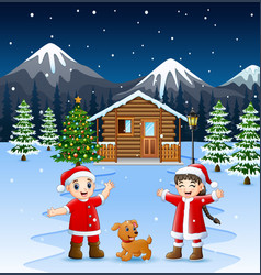 two kid in santa costume waving and laughing with vector image
