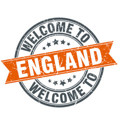Welcome to england orange round ribbon stamp vector