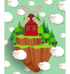Windmill on the farmland and sheep background vector