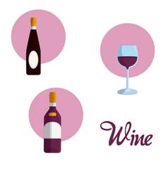 wine round icons vector image