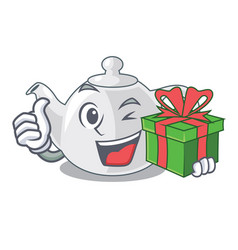 with gift porcelain teapot in table a character vector image