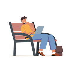 Young man sitting on bench in park with laptop vector