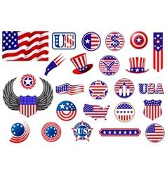 American patriotic badges symbols and labels vector image