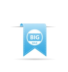 blue shiny color big sale curved hanging ribbon vector image vector image