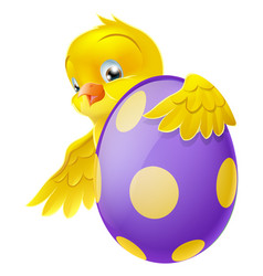 cute chick and painted chocolate easter egg vector image vector image