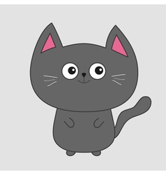 Gray contour cat with big eyes pink ears cute vector