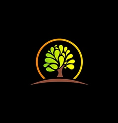 green tree abstract nature logo vector image