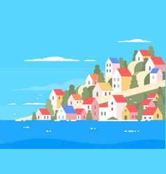 houses on coast of greece vector image