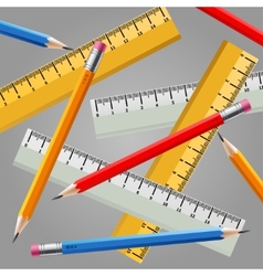 Ruler and pencil set vector image vector image