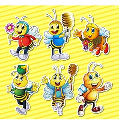 Bees and honey set vector image vector image