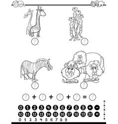 maths activity worksheet coloring page vector image