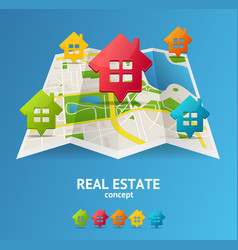 realistic 3d detailed city map real estate concept vector image vector image