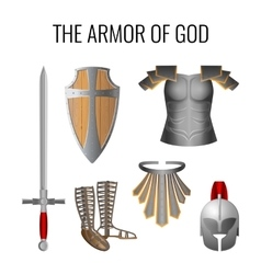 Armor of God elements set isolated on white vector image