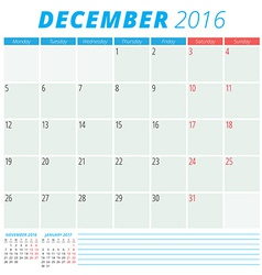 Calendar 2016 flat design template December Week vector image vector image