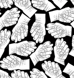 Fig fico hands seamless pattern black and white vector image vector image
