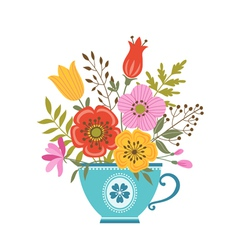 Flower teacup vector image vector image