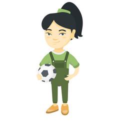 little asian girl holding a football ball vector image