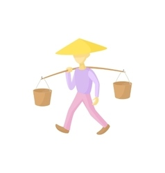 Man in a conical hat carries buckets icon vector image