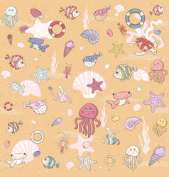 Seamless sea pattern with various inhabitants vector image vector image