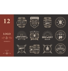 Set of Cask Alcohol Emblems vector image vector image