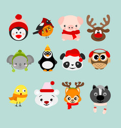 set of winter cute animals in vector image