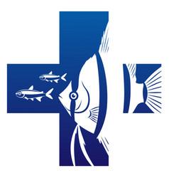 aquarium fish health care symbol vector image vector image