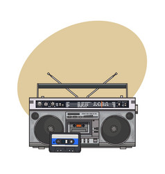 audio tape recorder ghetto boom box and audiotape vector image