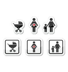 Baby icons set - parm pregnancy mother vector image vector image