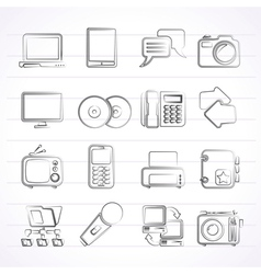 Communication and connection technology icons vector image