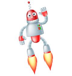 cute flying robot man vector image vector image