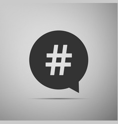 hashtag in circle icon isolated on grey background vector image