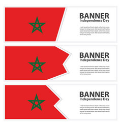 Morocco flag banners collection independence day vector