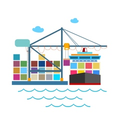 Unloading Containers from a Cargo Ship vector image vector image