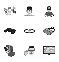 Virtual reality set icons in monochrome style Big vector image vector image