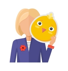 Woman with Chicken Mask Flat Design vector image vector image