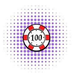 100 dollars casino chip icon comics style vector image