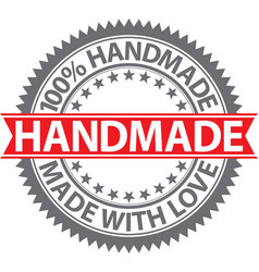 100 handmade label made with love badge vector image