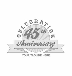45 th anniversary grey shine background vector