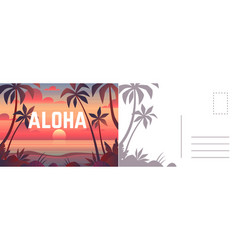 aloha postcard card with summer landscape vector image