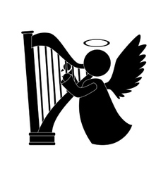 angel harp play musical instrument icon vector image