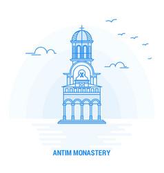 Antim monastery blue landmark creative background vector