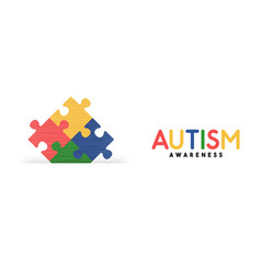 Autism awareness day colorful puzzle game banner vector